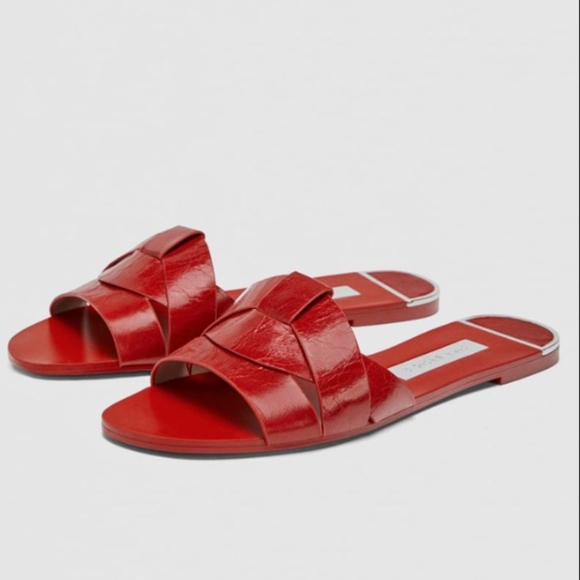 cb625a29eb4e14 FIRM PRICE Zara Collection Red Leather Slides